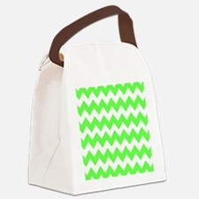 Lime Green Chevron Canvas Lunch Bag