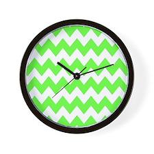 Lime Green Chevron Wall Clock