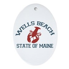 Wells Beach ME - Lobster Design. Ornament (Oval)