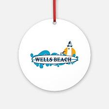 Wells Beach ME - Surf Design. Ornament (Round)