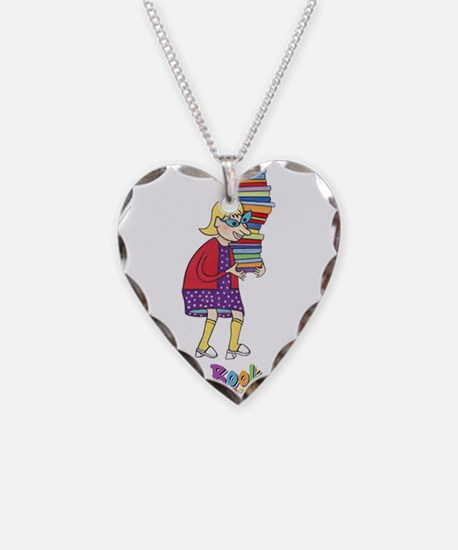Funny Reader Necklace Heart Charm