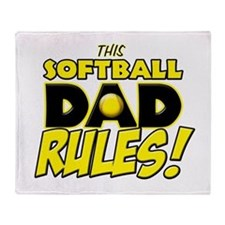 This Softball Dad Rules copy.png Throw Blanket