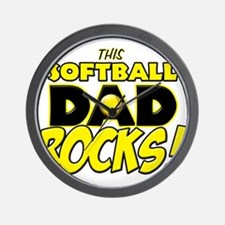 This Softball Dad Rocks copy.png Wall Clock