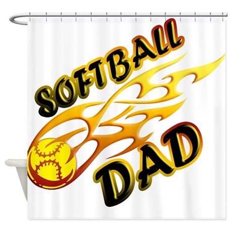 Softball Dad (flame) copy.png Shower Curtain