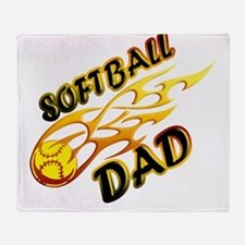 Softball Dad (flame) copy.png Throw Blanket