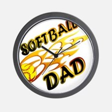 Softball Dad (flame) copy.png Wall Clock