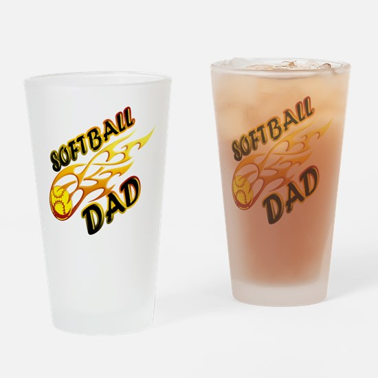 Softball Dad (flame) copy.png Drinking Glass