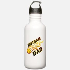Softball Dad (flame) copy.png Water Bottle