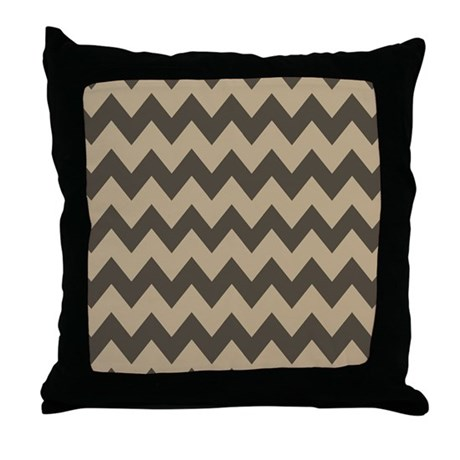 Dark Brown Throw Pillow : Dark Brown and Tan Chevron Throw Pillow by chevroncitystripes