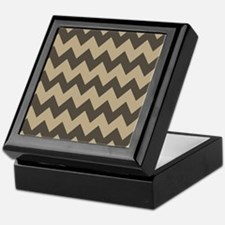 Dark Brown and Tan Chevron Keepsake Box