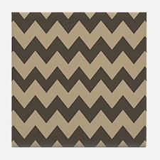 Dark Brown and Tan Chevron Tile Coaster