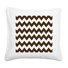Dark Brown and White Chevron Square Canvas Pillow