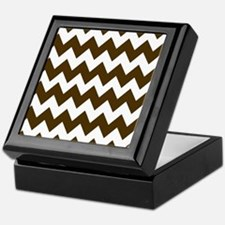 Dark Brown and White Chevron Keepsake Box
