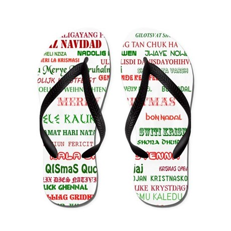 Many Merry Christmases Flip Flops