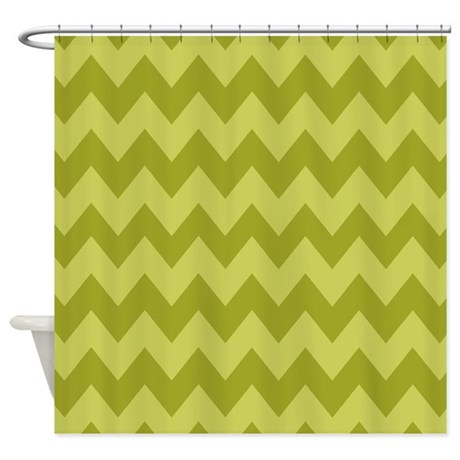 Olive Green Shades Of Chevron Shower Curtain By Chevroncitystripes