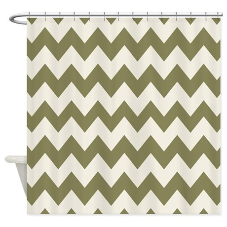 olive green and white chevron shower curtain by chevroncitystripes. Black Bedroom Furniture Sets. Home Design Ideas