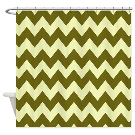Light Green And Brown Chevron Shower Curtain By Chevroncitystripes