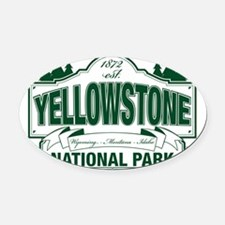 Green Yellowstone Oval Car Magnet
