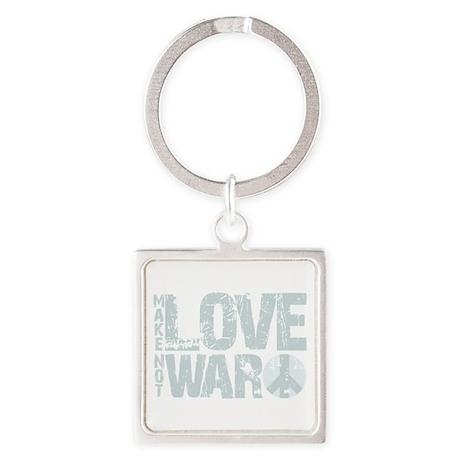 Make Love Not War Square Keychain