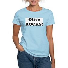 Olive Rocks! Women's Pink T-Shirt