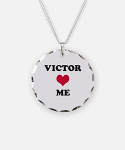 Victor Loves Me Necklace Circle Charm