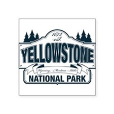 "Yellowstone NP Blue Square Sticker 3"" x 3"""