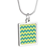Teal and Yellow Chevron Silver Square Necklace