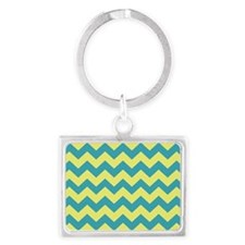 Teal and Yellow Chevron Landscape Keychain