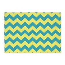 Teal and Yellow Chevron 5'x7'Area Rug