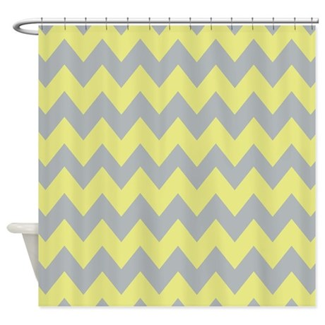 gray and baby yellow chevron shower curtain by