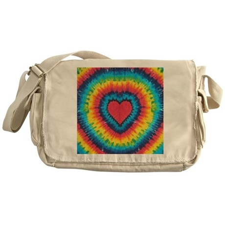 Colorful tie dye heart Messenger Bag