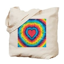 Colorful tie dye heart Tote Bag