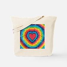 Colorful tie dye heart Tote Bag