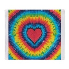 Colorful tie dye heart Throw Blanket