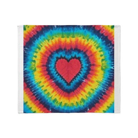 Colorful tie dye heart Throw Blanket