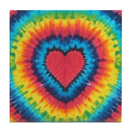 Colorful tie dye heart Tile Coaster