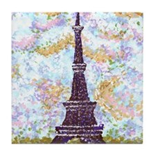 Eiffel Tower Pointillism by Kristie Tile Coaster
