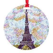 Eiffel Tower Pointillism by Kristie Ornament
