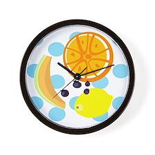 Polka Dot Fruit Salad Wall Clock