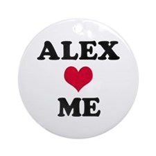 Alex Loves Me Round Ornament