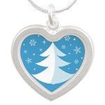 Merry Christmas Silver Heart Necklace