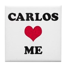 Carlos Loves Me Tile Coaster