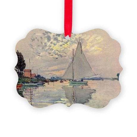 Monet Sailboat Picture Ornament