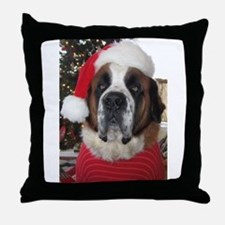 St. Bernard Santa Throw Pillow