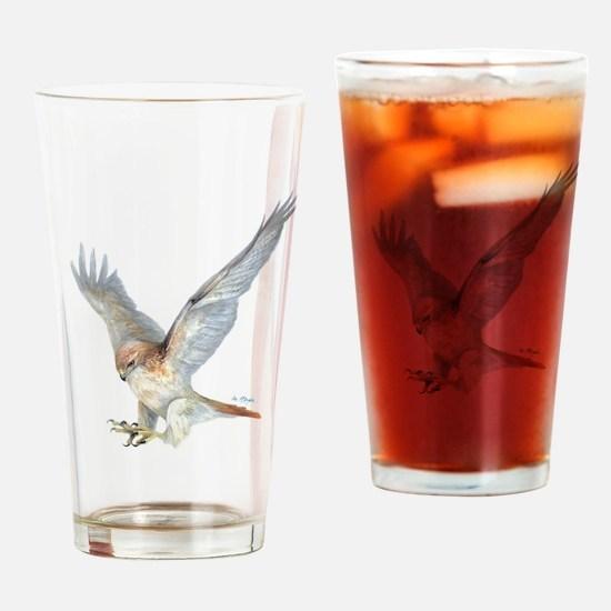 striking Red-tail Hawk Drinking Glass