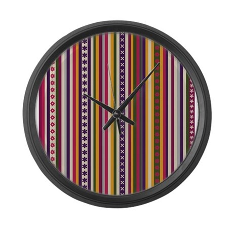 Funky Stripes Large Wall Clock By Fengshuiandbeyondshop