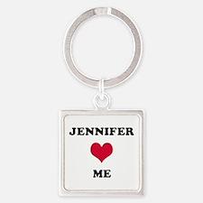 Jennifer Loves Me Square Keychain