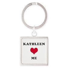 Kathleen Loves Me Square Keychain
