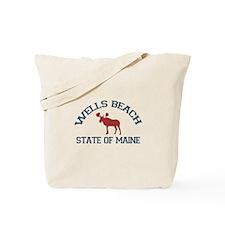 Wells Beach ME - Moose Design. Tote Bag