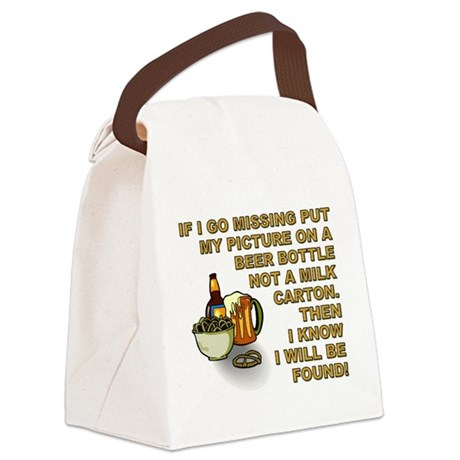 IF I GO MISSING... Canvas Lunch Bag